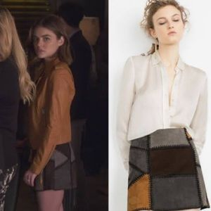 Zara suede patchwork mini skirt